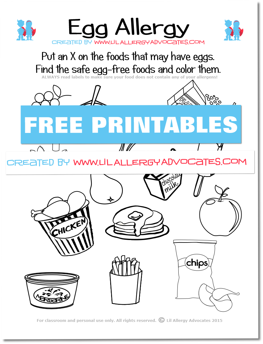 Food Allergy Match and Identify Printables - Lil Allergy Advocates