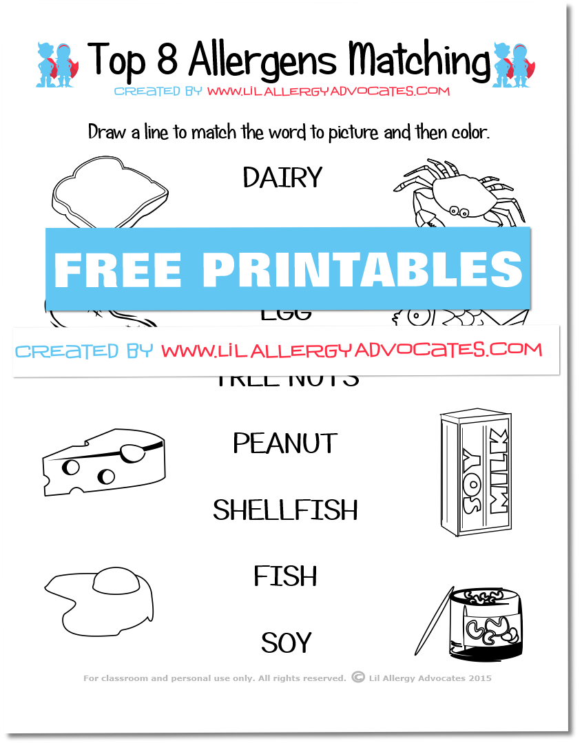 Food Allergy Match and Identify Printables
