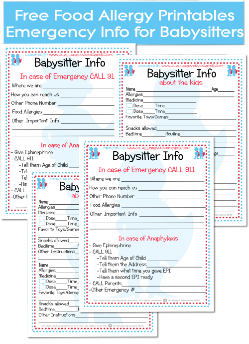 incident alert template - babysitter emergency info forms lil allergy advocates