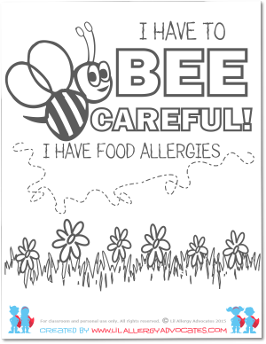 Bumble Bee Food Allergy Coloring Pages – Lil Allergy Advocates