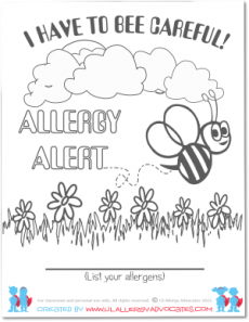 Bumble Bee Food Allergy Coloring Pages - Lil Allergy Advocates