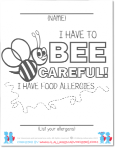 Bumble Bee Food Allergy Coloring Pages