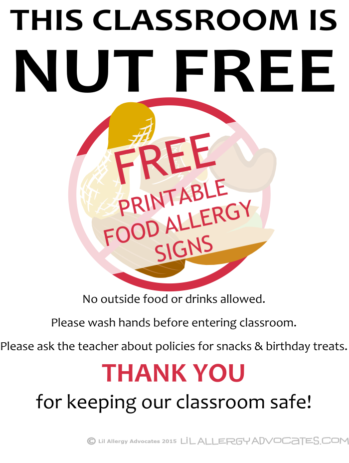 image relating to Classroom Signs Printable called No cost Printable Nut Free of charge University Indications - Lil Allergy Advocates