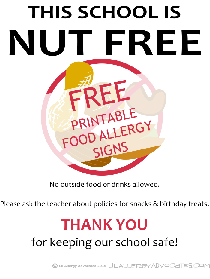 picture relating to No Food or Drink Signs Printable titled Free of charge Printable Nut Totally free College Signs or symptoms - Lil Allergy Advocates