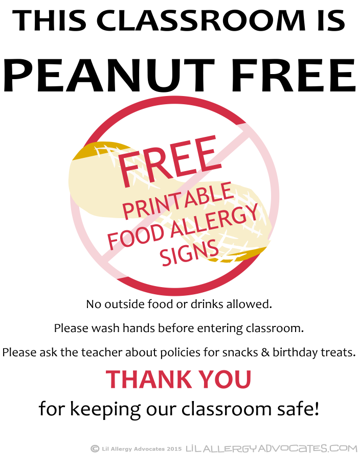 picture about No Food or Drink Signs Printable identify No cost Printable Nut Cost-free University Indications - Lil Allergy Advocates