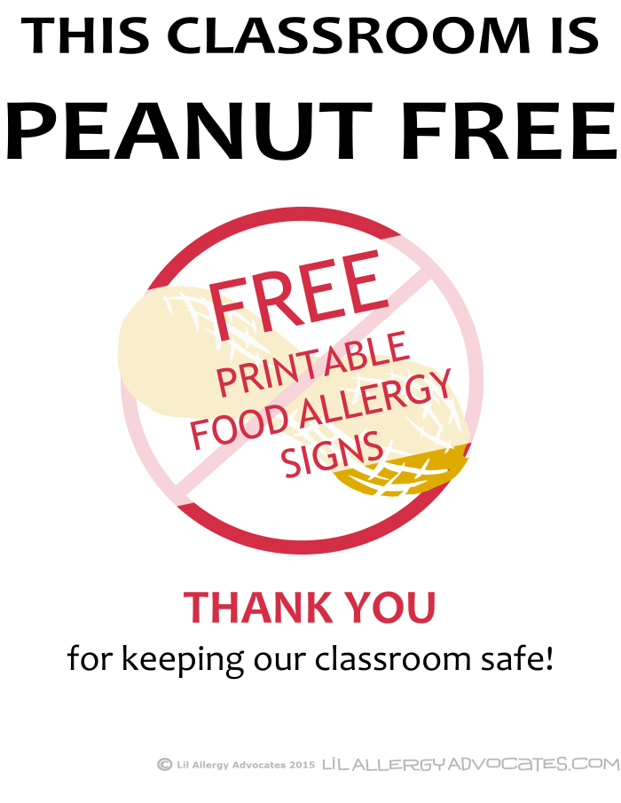 Free Printable Nut Free School Signs
