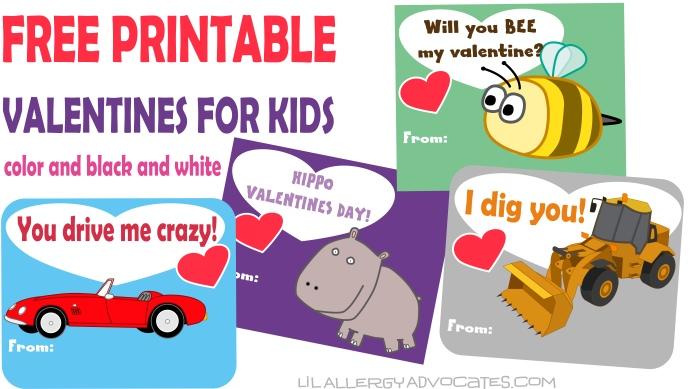 Free Kids Valentine Printables Lil Allergy Advocates