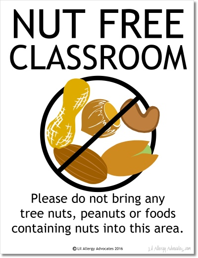 Free Nut Free Classroom Sign
