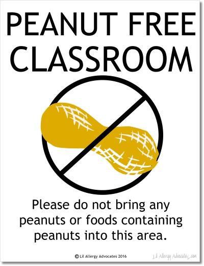 Free Peanut Free Classroom Sign