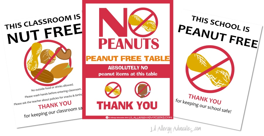 Free Peanut Free Classroom Signs