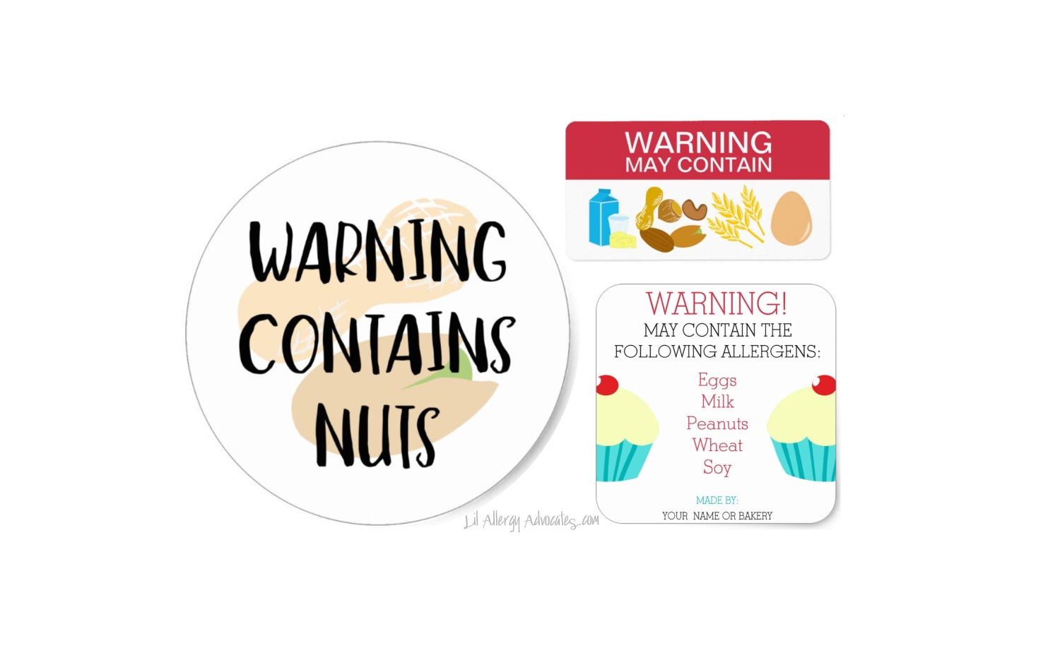 Contains Allergens Food Labels Stickers - Lil Allergy ...