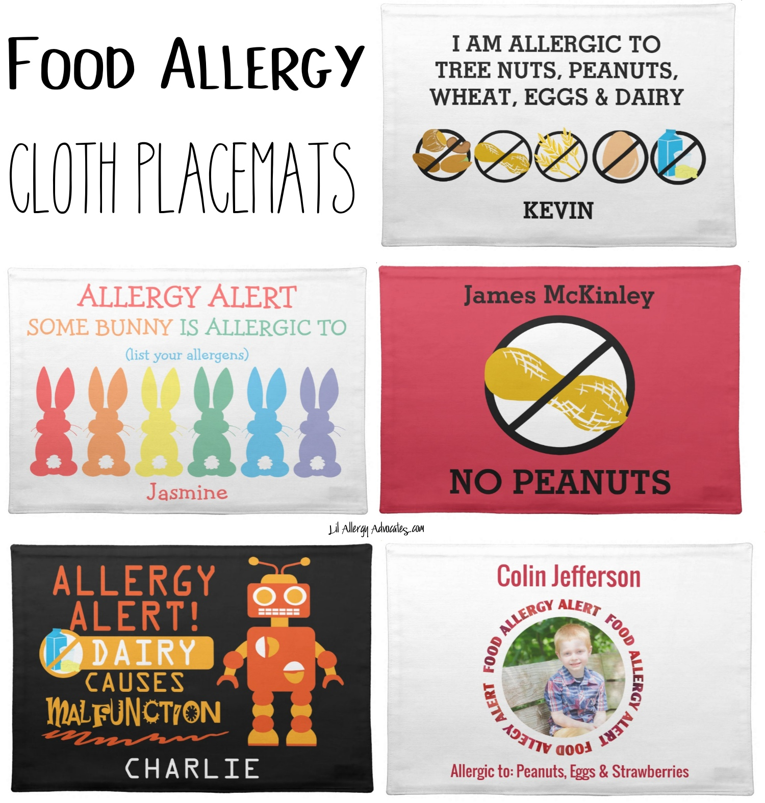 food allergy placemats